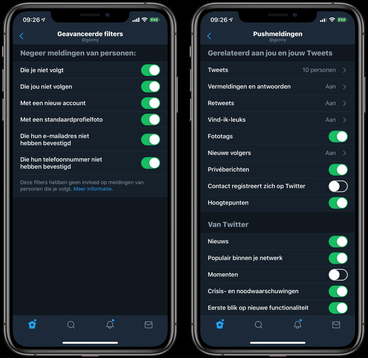 Twitter-notificaties: instellingen