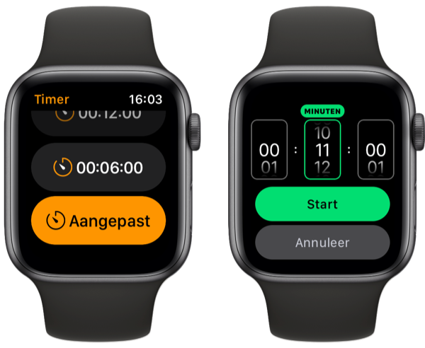 Timer op Apple Watch instellen.
