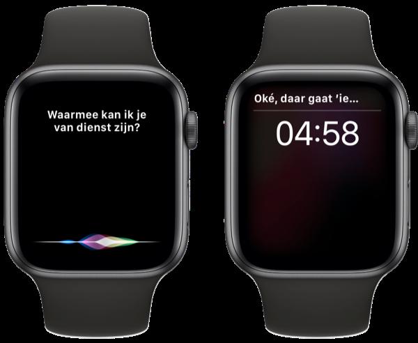 Timer via Siri instellen.