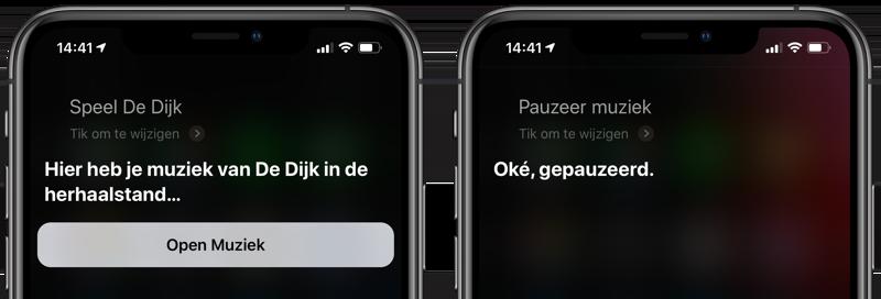 Muziek afspelen met Siri en pauzeren
