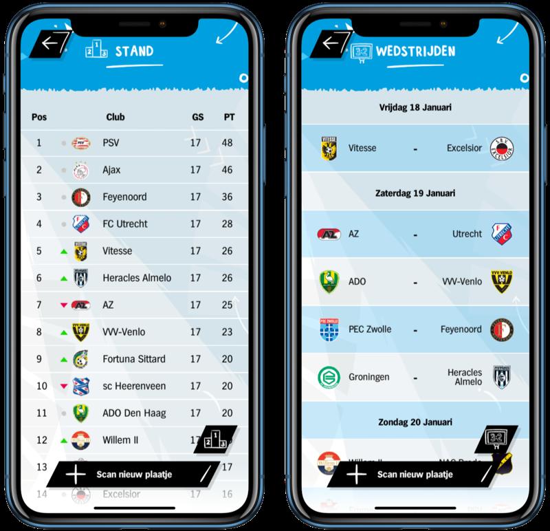 AH Voetbalplaatjes-app met standen en wedstrijden.