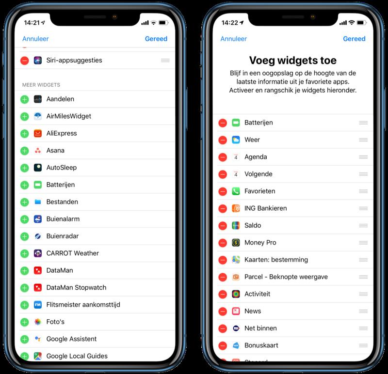 Batterijen-widget op iPhone toevoegen.