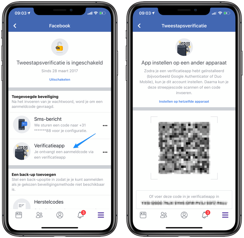 Tweestapsverificatie Facebook met apps