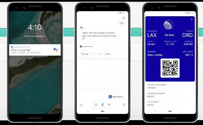 Google Assistent met boardingpass voor vluchten.
