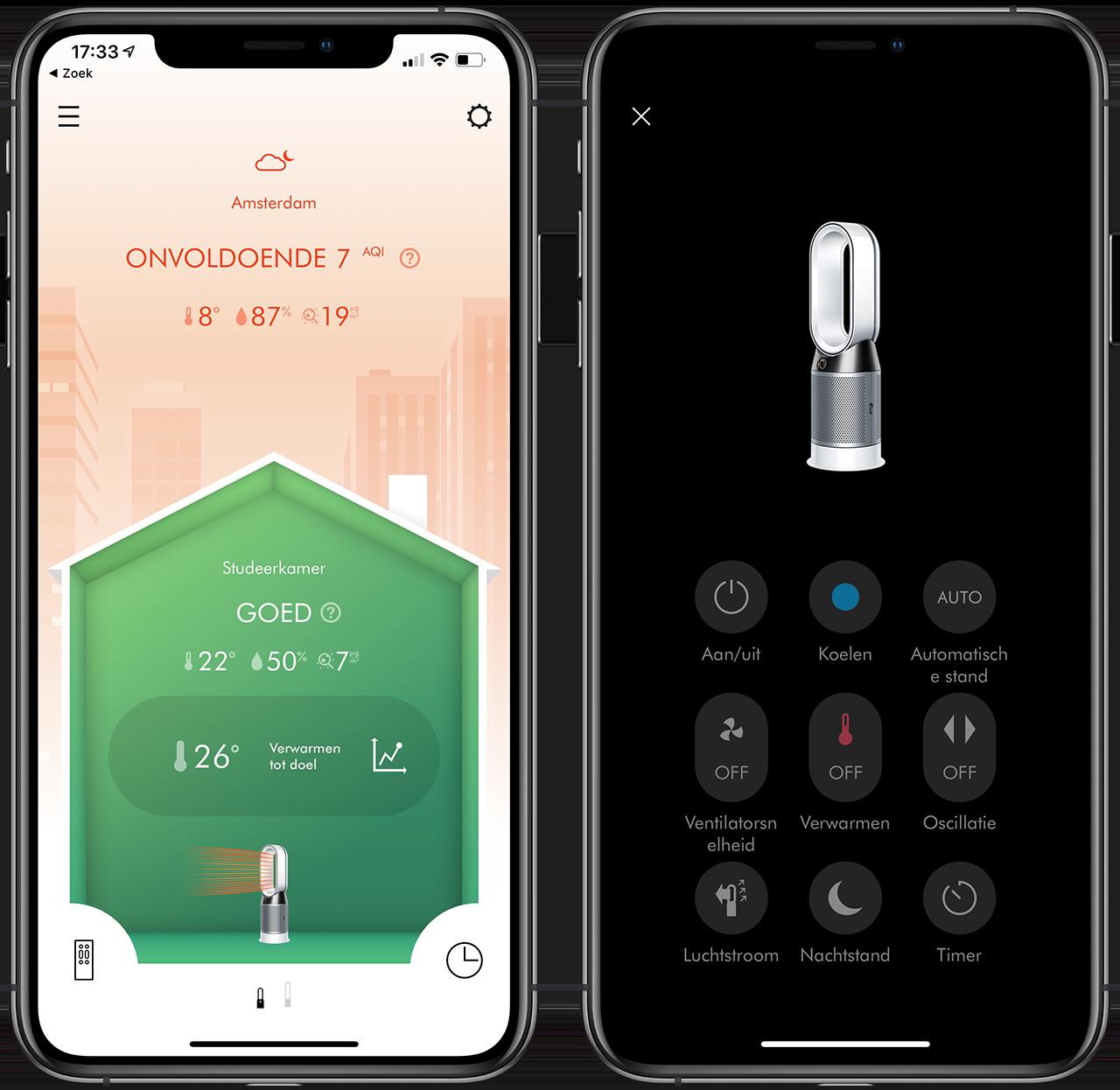 Dyson Pure Hot+Cool app gebruiken