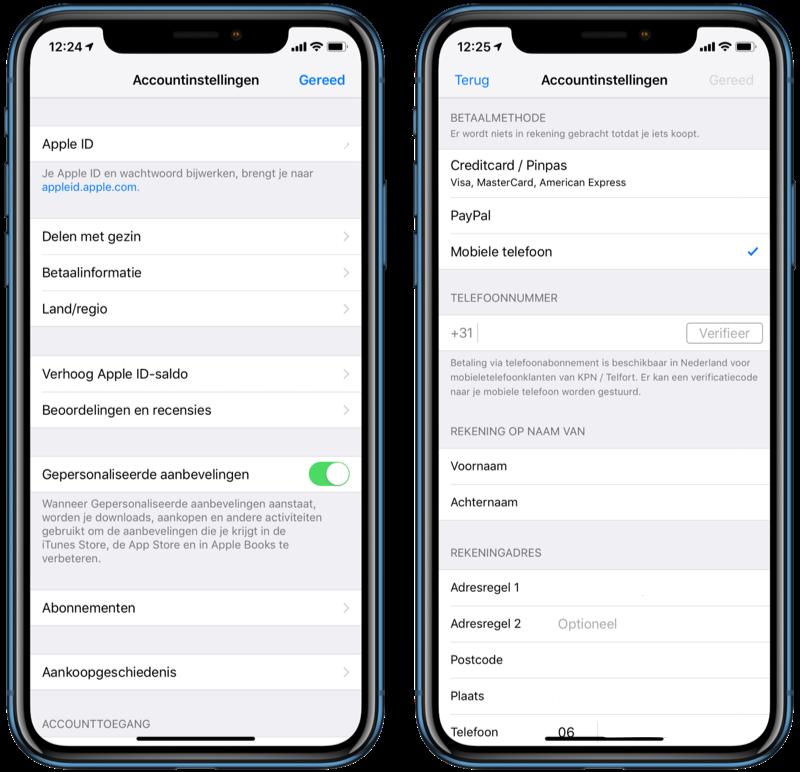 Carrier billing op iPhone instellen.