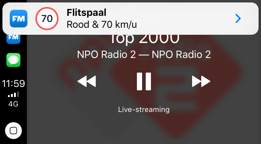 Melding van Flitsmeister CarPlay.