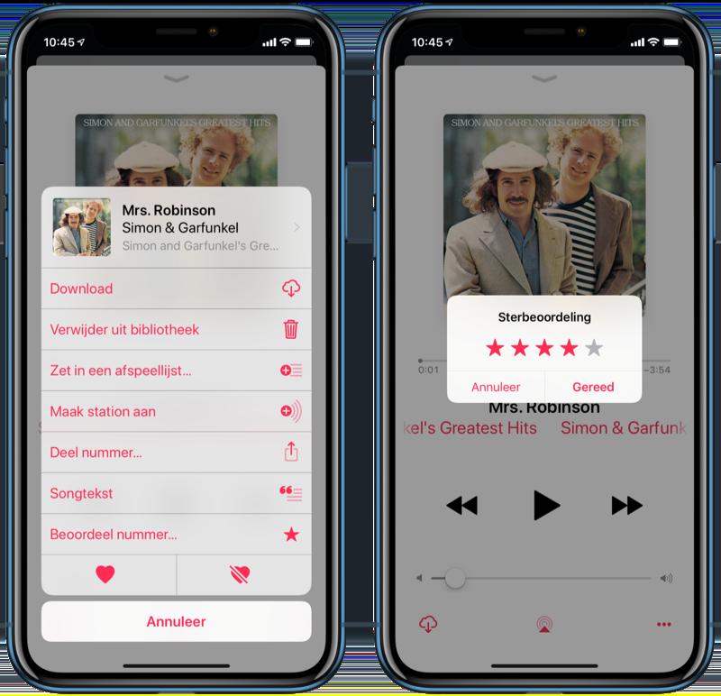 Sterbeoordeling in de Muziek-app geven.