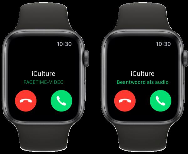 FaceTime op Apple Watch beantwoorden als audio.