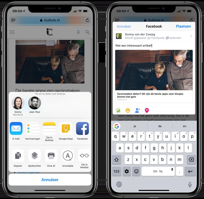 Facebook delen vanuit iOS