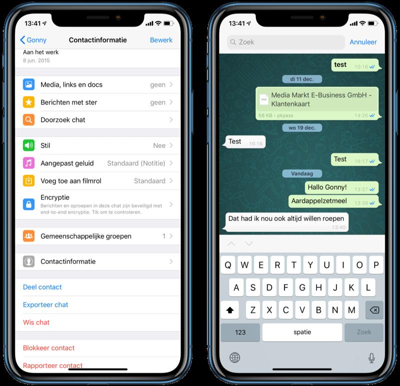 Zoeken in WhatsApp-chat.