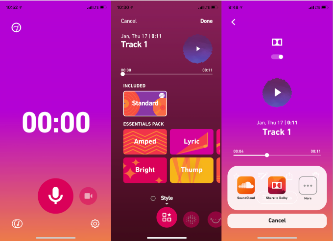 Dolby 234 app screenshots