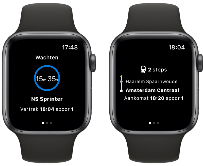 NS Apple Watch-app met live weergave.