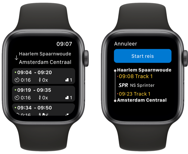 NS Apple Watch-app met vast traject.