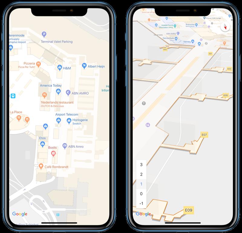 Google Maps met indoor Schiphol navigatie.