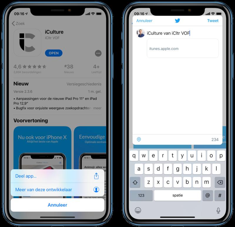 App delen op Twitter.
