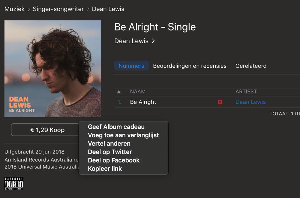 Deel muziek via iTunes op Twitter en Facebook op de Mac.