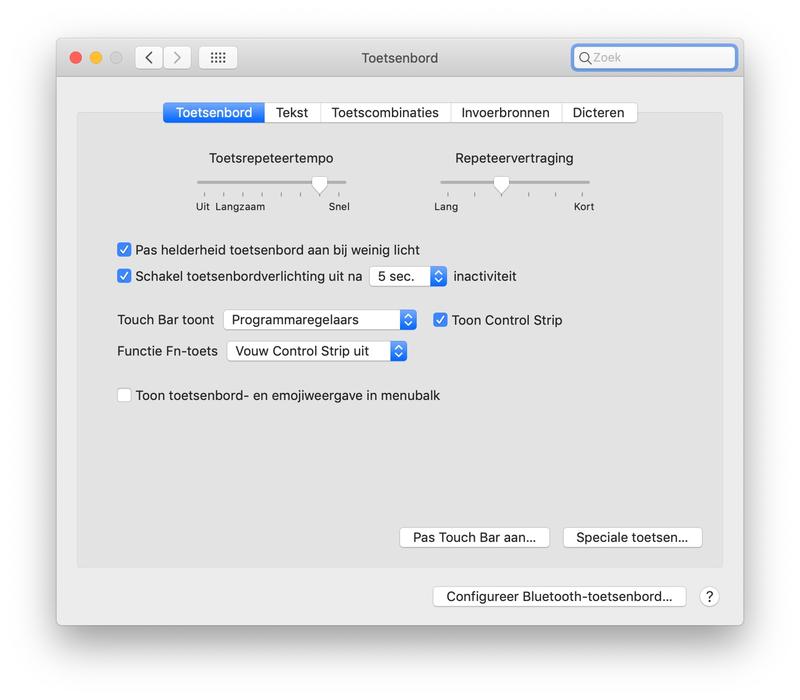 Mac achtergrondverlichting toetsenbord instellen