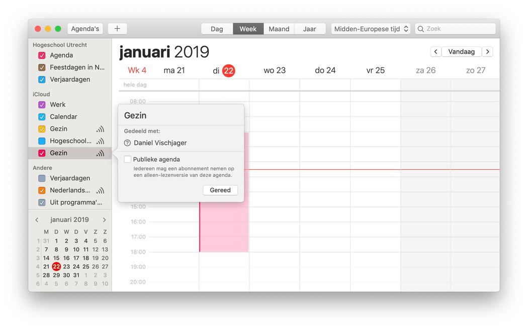 Agenda aanmaken en delen Mac
