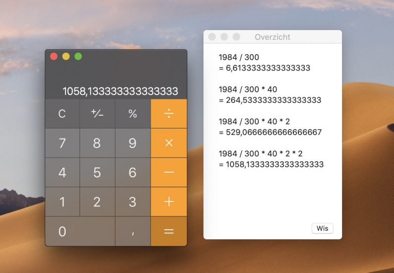 Rekenmachine overzicht Mac