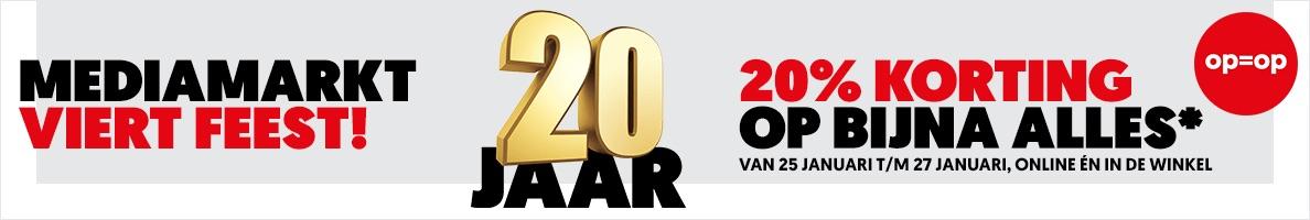 MediaMarkt banner 20 jaar kortingsactie.