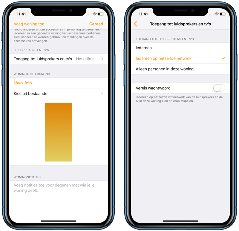 Toegang tot speakers en tv's in Woning-app in iOS 12.2.