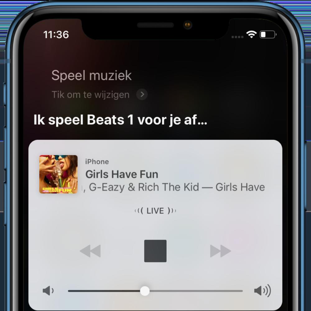 Muziekbediening met Siri in iOS 12.2.