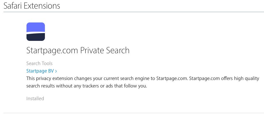 Startpage-extensie in Safari.