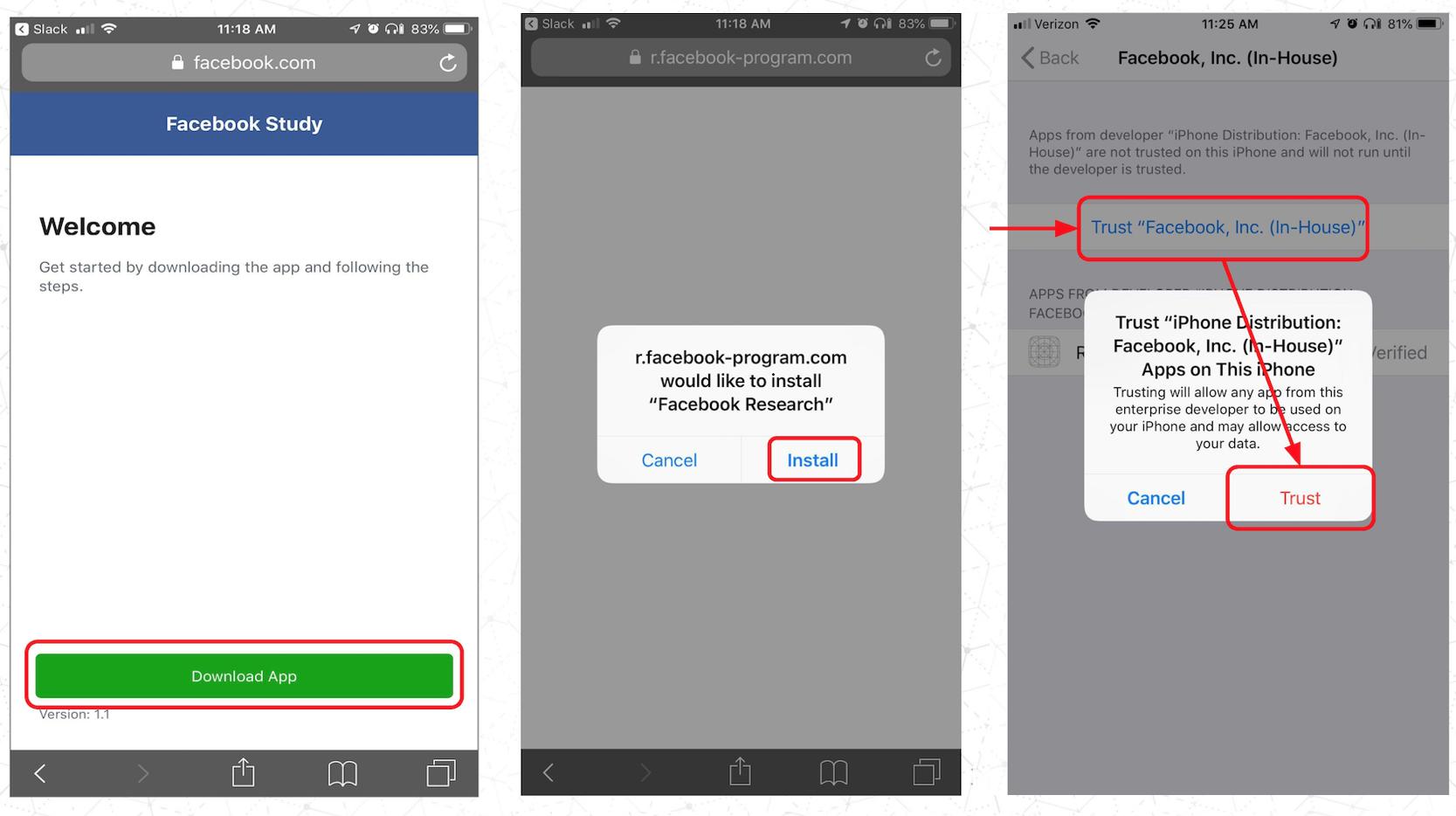 Facebook Research app.