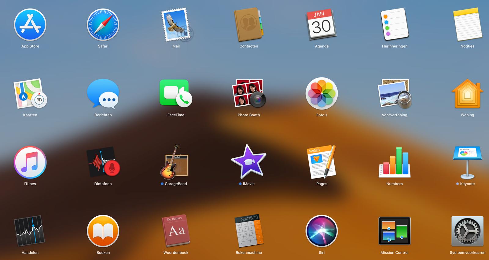 Launchpad op de Mac met programma's.