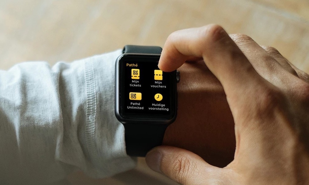 Pathé Apple Watch hoofdmenu.