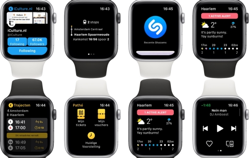 Screenshots van Apple Watch-apps.