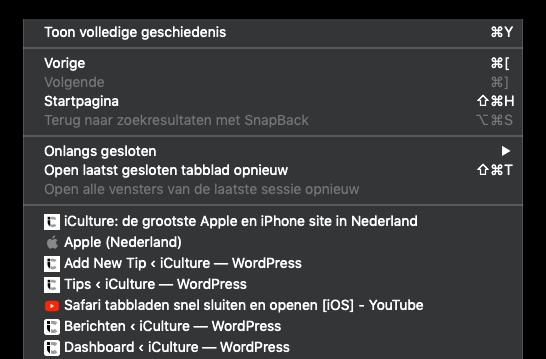 Gesloten Safari-tabblad openen op de Mac.