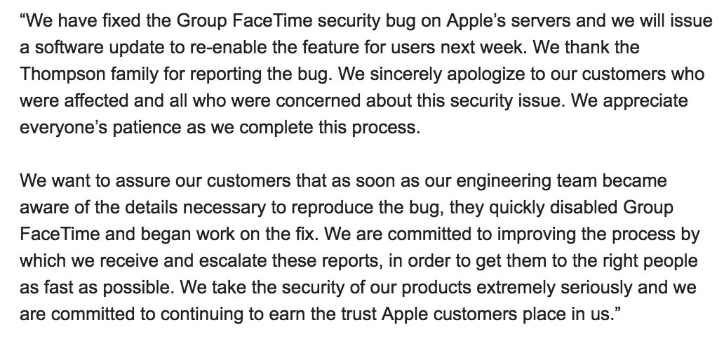 FaceTime bug excuses