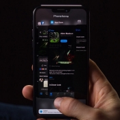 Concept van iOS 13 met donkere appkiezer.