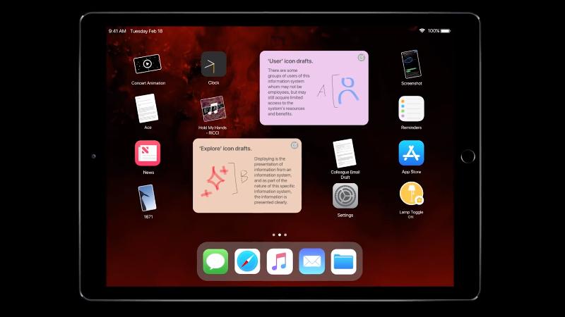 iOS 13-concept op de iPad.