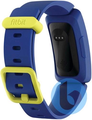 Gelekte Fitbit voor kinderen in blauw met geel.