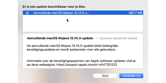 macOS 10.14.3 update