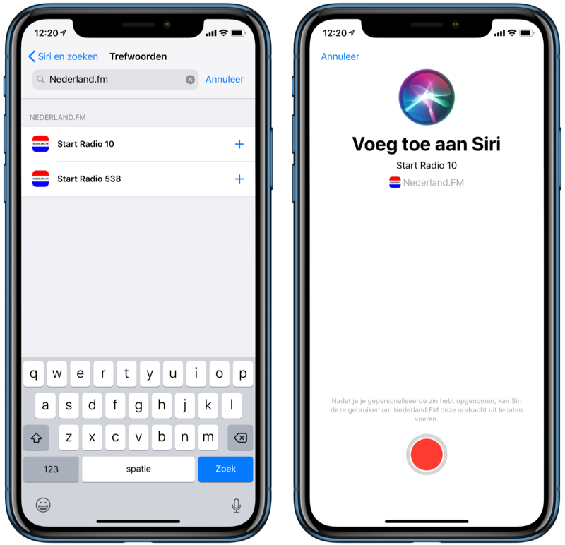 Nederland.FM met Siri Shortcuts.