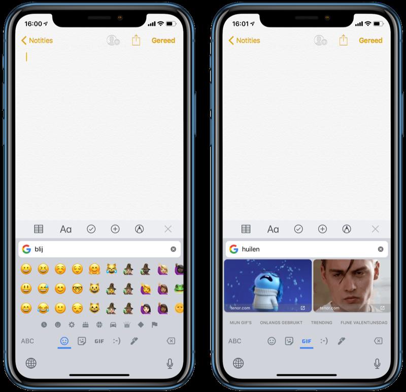 Emoji en gif zoeken in Gboard.