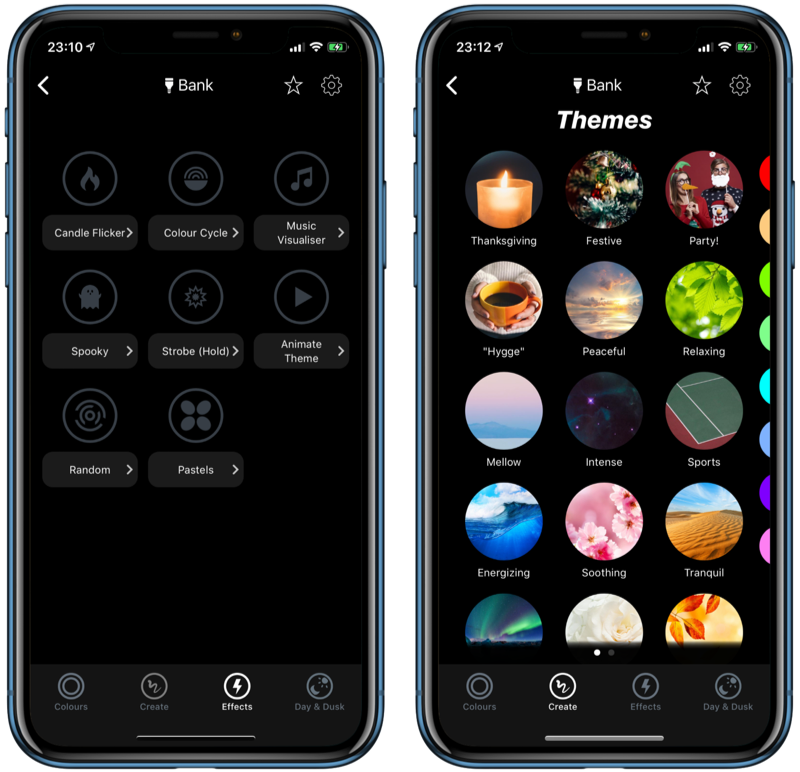 LIFX-app met thema's.