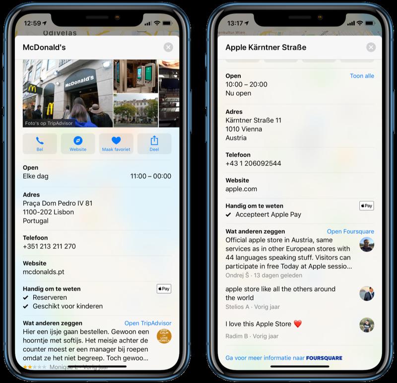 Apple Pay icoontjes in Apple Kaarten in Portugal en Oostenrijk.
