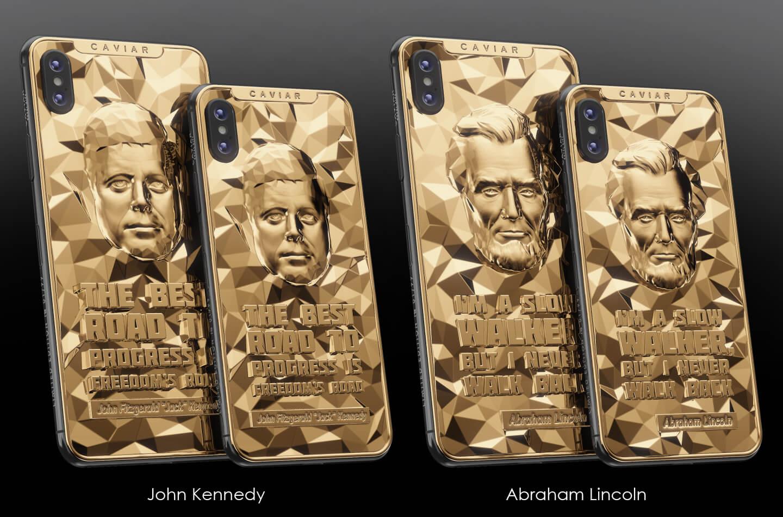 iPhone XS verguld met Amerikaanse presidenten.