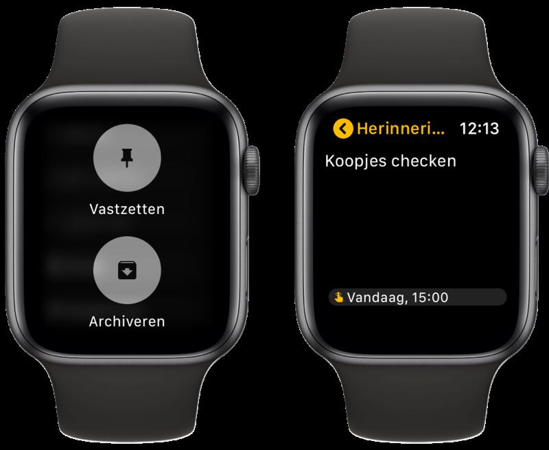 Google Keep op Apple Watch met notitie met datum.