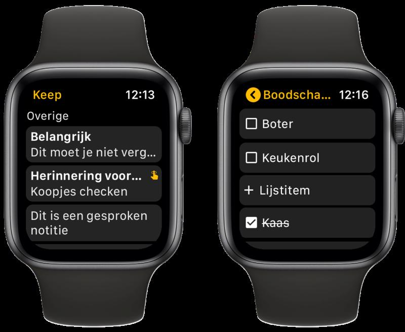 Google Keep op Apple Watch met lijstjes.