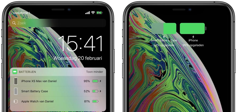 iPhone XS Max batterijpercentage Smart Battery Case