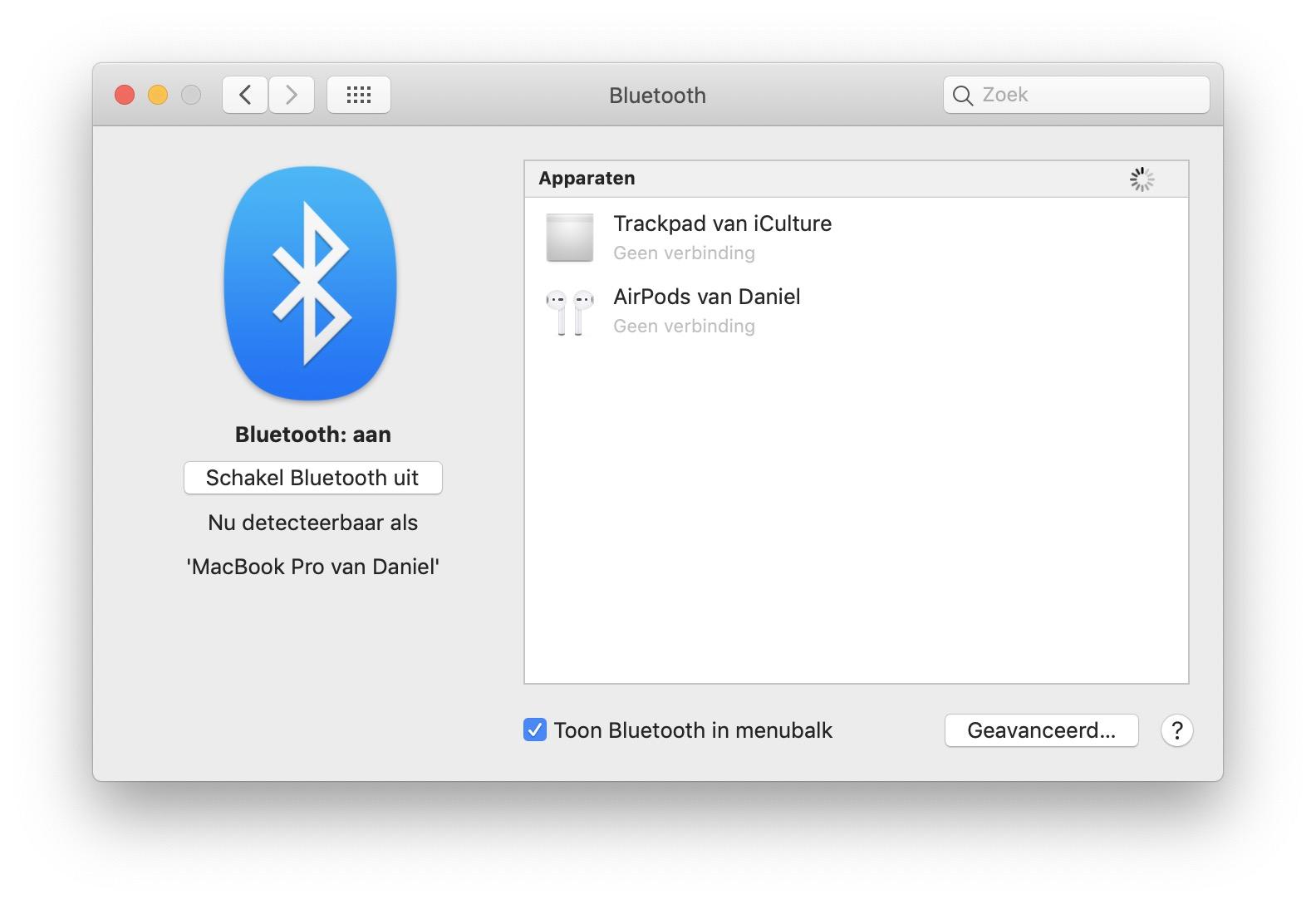 Bluetooth in menubalk aanzetten