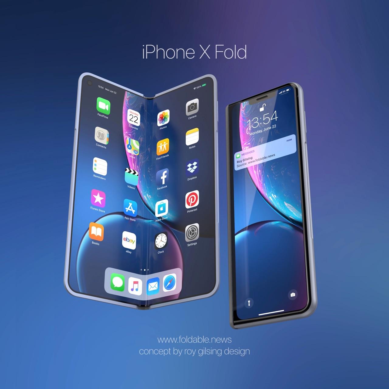 Concept opvouwbare iPhone open en dicht.