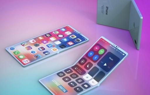 Opvouwbare iPhone met clamshell-design.