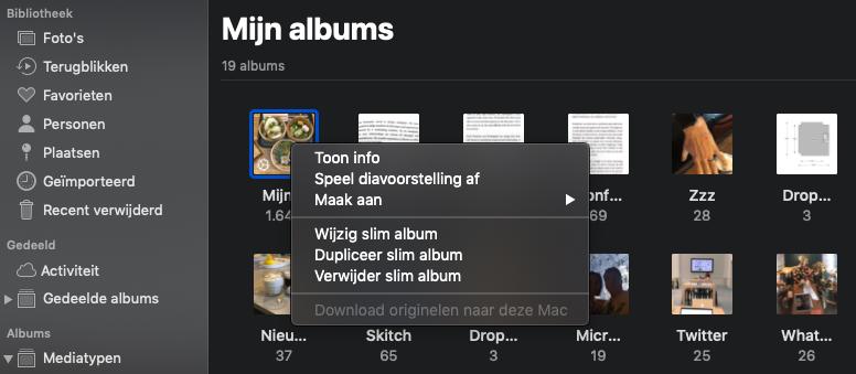Slim album wijzigen